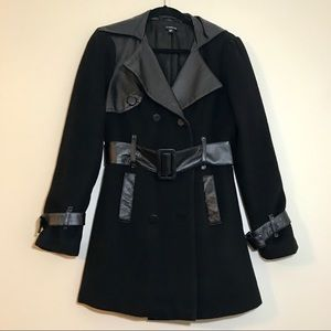 Bebe Leather & Wool Blend Trench Coat - #1020